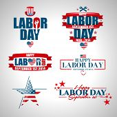 picture of labor  - set of vector labels templates on Labor Day a national holiday of the United States - JPG