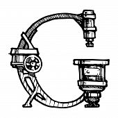 image of steampunk  - Steampunk letter made of different technical pieces - JPG