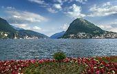 stock photo of salvatore  - View of Monte San Salvatore and Lugano lake Switzerland  - JPG