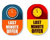 picture of elliptical  - last minute offer with clock signs two elliptic flat design labels with icons business commerce shopping concept symbols - JPG