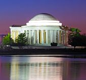 pic of thomas jefferson memorial  - Thomas Jefferson Memorial at predawn in spring - JPG