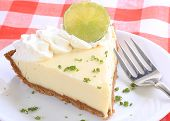 picture of lime  - Tight shot of slice of key lime pie on white plate garnished with lime and zest garnish sitting on red and white plaid tablecloth - JPG