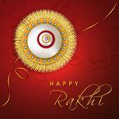 image of rakhi  - Happy Raksha Bandhan celebrations greeting card design with golden and silver rakhi on floral decorated red background - JPG