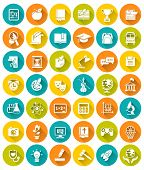 stock photo of citizenship  - Set of modern flat white silhouette icons of school subjects - JPG
