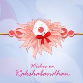 picture of rakhi  - Beautiful pink feather decorated Rakhi on shiny abstract background for Happy Raksha Bandhan celebrations - JPG