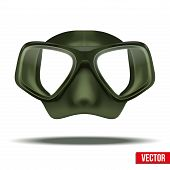 pic of rubber mask  - Front view of Underwater diving scuba green mask - JPG