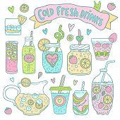 image of cocktail menu  - Set of cute hand drawn vector cocktails and lemonades - JPG