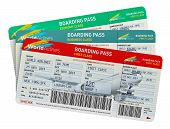 stock photo of business class  - Group of color airline tickets for first - JPG