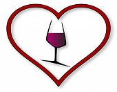 stock photo of glass heart  - A wine glass set into a red heart over a white background - JPG