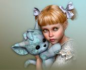 stock photo of hair bow  - 3D computer graphics of a cute girl with bows in her hair and a stuffed toy in the arms - JPG