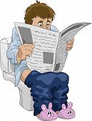 stock photo of defecate  - The man on the toilet vector illustration - JPG