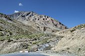 picture of manali-leh road  - Road Turn In Himalaya Mountains on Manali  - JPG