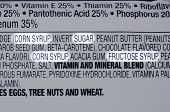 image of ingredient  - Closeup of ingredients list of granola health bar with forms of sugar highlighted - JPG