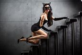 stock photo of catsuit  - sexy woman in catwoman suit lying on stairs at backyard of building - JPG