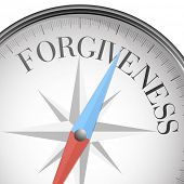 foto of forgiveness  - detailed illustration of a compass with forgiveness text - JPG