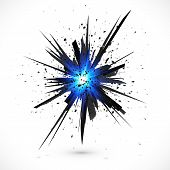 stock photo of explosion  - Black vector explosion with particles isolated on white background - JPG