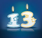 foto of candle flame  - Birthday candle number 13 with flame  - JPG