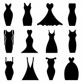 image of mini dress  - Set of silhouette images of women - JPG