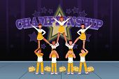 foto of cheerleader  - A vector illustration of cheerleaders in a cheerleading competition - JPG