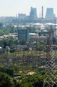 image of chp  - Extreme industry area with CHP refinery and electric lines - JPG