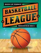 stock photo of basketball  - An illustration for a basketball league - JPG