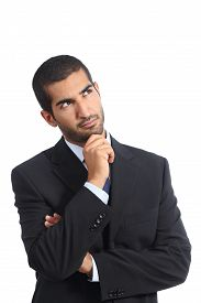 picture of arab man  - Arab business man thinking serious looking sideways isolated on a white background - JPG