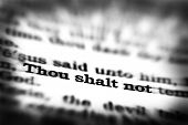 stock photo of scriptures  - Detail closeup of New Testament Scripture quote Thou Shalt Not - JPG