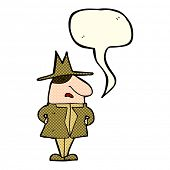 picture of crazy hat  - cartoon man in coat and hat with speech bubble - JPG