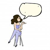 image of stool  - cartoon woman sitting on bar stool with speech bubble - JPG