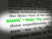 picture of summary  - Dictionary definition of the word SUMMARY on paper - JPG