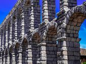 picture of aqueduct  - View of famous aqueduct of Segovia Spain - JPG