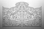 stock photo of gates heaven  - Beautiful grey iron graphic antique ornament gates - JPG