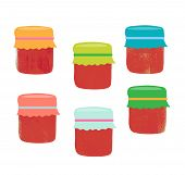 stock photo of jar jelly  - Set from jars with fruit and berry jam - JPG