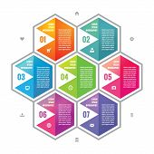 foto of hexagon  - Business infographic concept colored hexagon blocks in flat style design - JPG