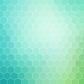 pic of hexagon pattern  - Blue green colored hexagon pattern background with white outline - JPG