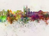 image of anger  - Angers skyline in artistic abstract watercolor background - JPG