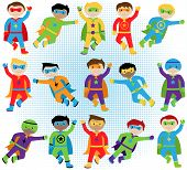 Постер, плакат: Set of Boy Superheroes in Vector Format