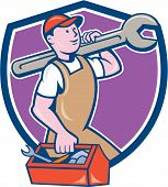 picture of overalls  - Illustration of a mechanic in overalls and hat holding spanner wrench on shoulder and carrying toolbox facing side set inside shield crest on isolated background done in cartoon style - JPG