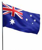 stock photo of flutter  - Australian flag fluttering and isolated on white - JPG