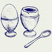 foto of boil  - Boiled egg breakfast - JPG