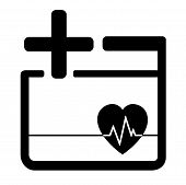 picture of beats  - black medicine icon with heart beat and cross - JPG
