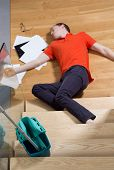 image of blind man  - Young unconscious man having a dangerous accident - JPG