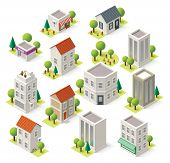 stock photo of building exterior  - Set of the isometric city buildings and shops - JPG