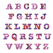 image of batik  - Spring pink and red hearts batik style capital letters alphabet text design elements - JPG