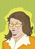 picture of hysterics  - Laughing businesswoman with eyeglasses over green background - JPG