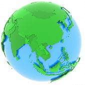 picture of eastern hemisphere  - Political map of Asia with countries in different shades of green isolated on white background - JPG