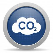 picture of carbon-dioxide  - carbon dioxide blue glossy web icon