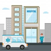 stock photo of ambulance  - Big hospital building with ambulance and illustration of a smiling doctor - JPG