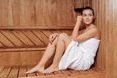 image of sauna woman  - Spa beauty treatment - JPG