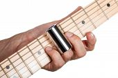 image of guitarists  - Hands of man playing electric guitar - JPG